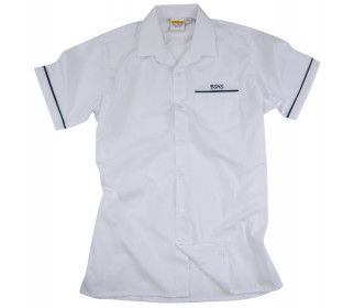 Short sleeve shirt with Revere collar