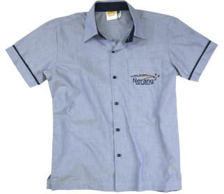 Yarn Dye short sleeve shirt with contrast collar