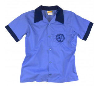 Short sleeve shirt with contrast collar & cuff